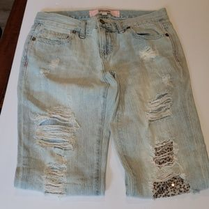 Victoria's Secret PINK sequin distressed denim